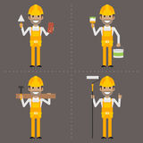 Worker specialist builder painter carpenter with tool Royalty Free Stock Photos