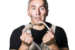 Worker specialist plumber, engineer or constructor on white background. Male man stupid unqualified worker specialist plumber, engineer or constructor in white Royalty Free Stock Image