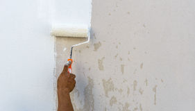 Worker spends roller paint on the wall. In room Stock Photo