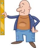 Worker with spirit level cartoon. Cartoon Illustration of Worker with Spirit Level or Measuring Stock Photography
