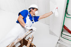 Worker spraying ceiling with spray bottle Royalty Free Stock Images