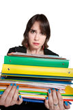 Worker with Stack of Binders Stock Images