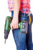 Worker stands with tools Stock Image