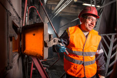 Worker in the steamshop Stock Image