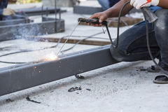 Worker steel welding with unsafety position Royalty Free Stock Images