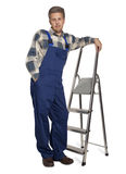 Worker with a stepladder Royalty Free Stock Photos