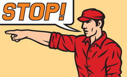 Worker with stop speech bubble Stock Photography