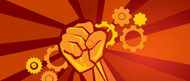 Worker on strike demonstration gears cogs and hand fist symbol of labor in red revolution propaganda style socialism. Communism vector Stock Photography