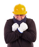 Worker suffering cold with arms crossed. Isolated on white background Stock Photography