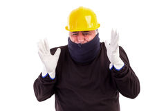 Worker suffering cold with arms up Royalty Free Stock Photo