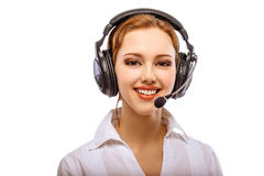 Worker of support service on connection Royalty Free Stock Image
