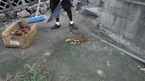 A worker sweeping the yard at a restaurant on bequia stock footage