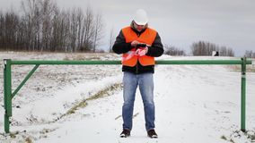 Worker with tablet PC at the barrier stock video footage