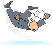 Worker Taking A Slip And Fall. This illustration depicts a man in coveralls slipping on ice or water Stock Images