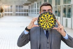Worker with a target obsession.  royalty free stock image