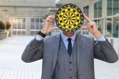 Worker with a target obsession.  stock images