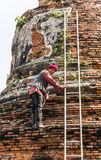 Worker at temple area in Ayutthaya Stock Photography
