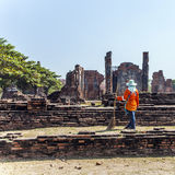Worker at temple area in Ayutthaya Stock Photos