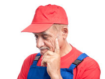 Worker thinking problem Royalty Free Stock Photos