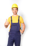 Worker thumb up gesturing isolated on white Royalty Free Stock Image