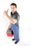 Worker thumbsup Stock Images