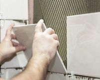 Worker tiler puts ceramic tiles. On a wall Stock Photo