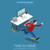 Worker time go home business office work flat isometric vector. Flat 3d isometric style time go home business concept web infographics vector illustration. Man Royalty Free Stock Photos