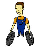 Worker with tires Stock Photos