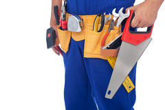 Worker with tool belt - closeup Stock Photography