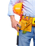 Worker with a tool belt. Isolated over white background stock images