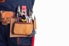 Worker with tool belt stock photo