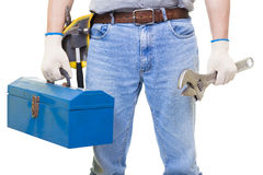 Worker with a tool box isolated Royalty Free Stock Image