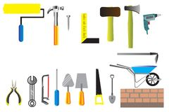 Worker tool set icon vector, collection of hand tools flat icon of construction stock illustration