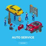 Worker tool workers car repair service 3d flat iso. Flat isometric workers and equipment for auto car repair service  illustration. 3d isometry Automobile Royalty Free Stock Photography