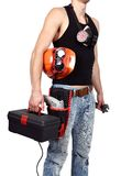 Worker with toolbelt Stock Images