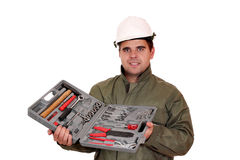 Worker with toolbox Royalty Free Stock Photos