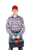 Worker with toolbox Royalty Free Stock Images