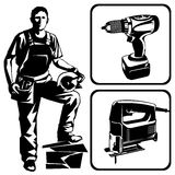 Worker and tools. Vector stencil image. An worker with a power tool Royalty Free Stock Photography
