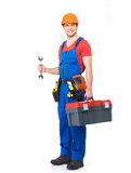 Worker with tools full portrait isolated Royalty Free Stock Photo