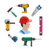 Worker with tools Stock Photo
