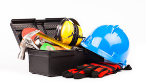Worker tools isolated on white Royalty Free Stock Images