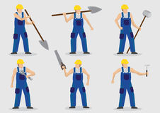 Worker With Tools Vector Cartoon Character Illustration Royalty Free Stock Image