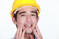 Worker with toothache Stock Photos