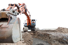 Worker in Track Hoe Royalty Free Stock Image