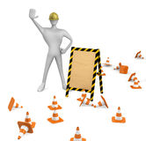 Worker with traffic cones and empty board Royalty Free Stock Photos