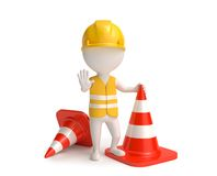 Worker with traffic-cones Stock Photography