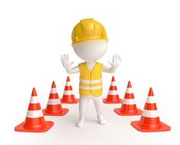 Worker with traffic-cones Royalty Free Stock Photo