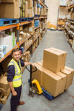 Worker with trolley of boxes smiling at camera Royalty Free Stock Images