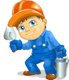 Worker. The worker with a trowel and a bucket in a hand Stock Photo