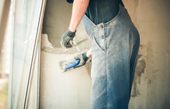 Worker with trowel Royalty Free Stock Photos